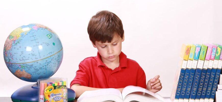 мальчик, читающий учебник